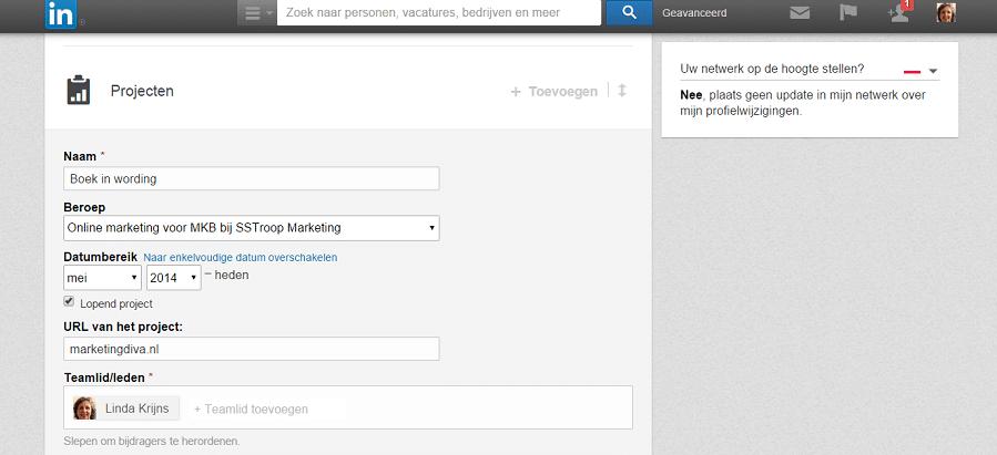 je boek als project op LinkedIN
